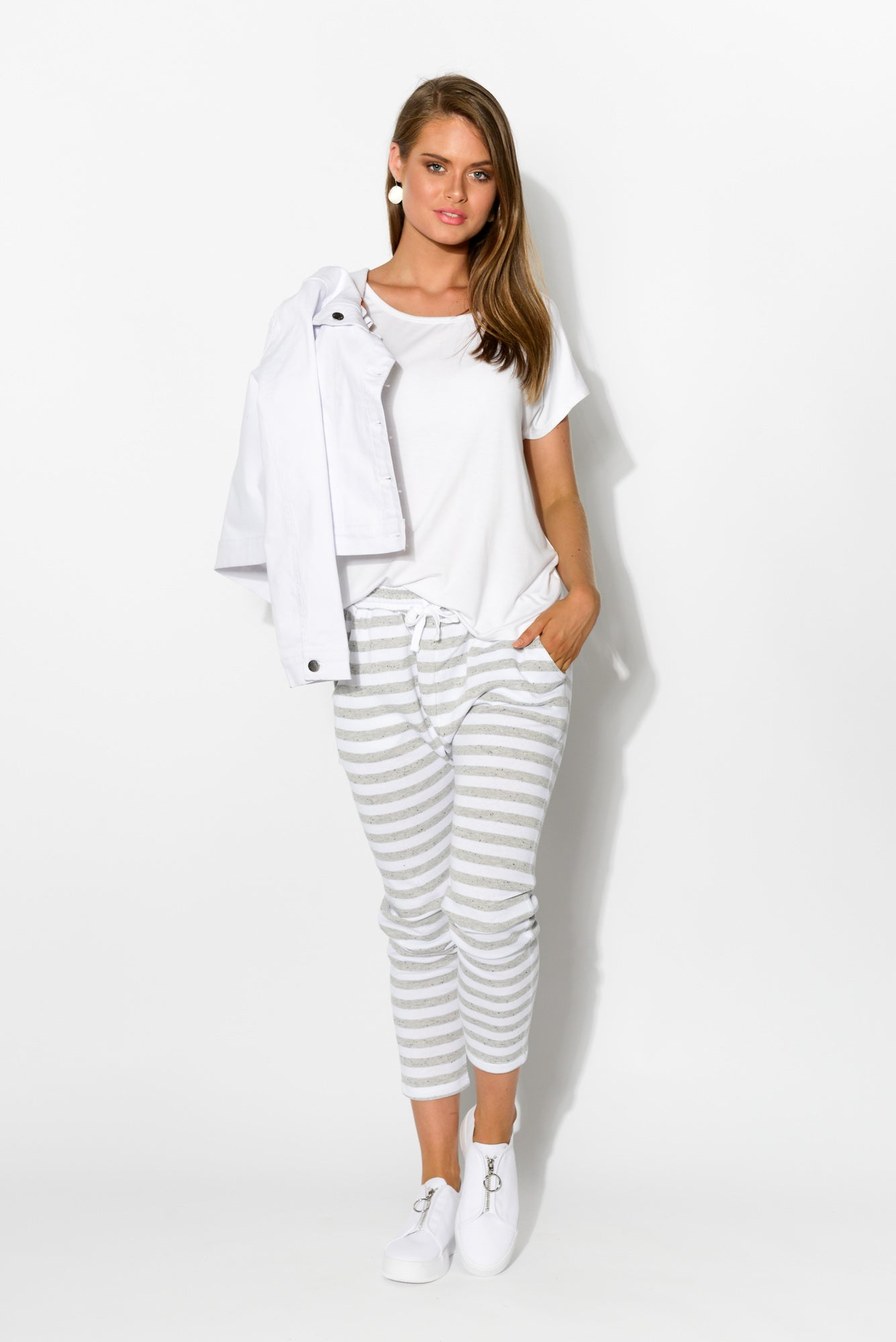 Saxon Grey Stripe Sweat Pant - Blue Bungalow