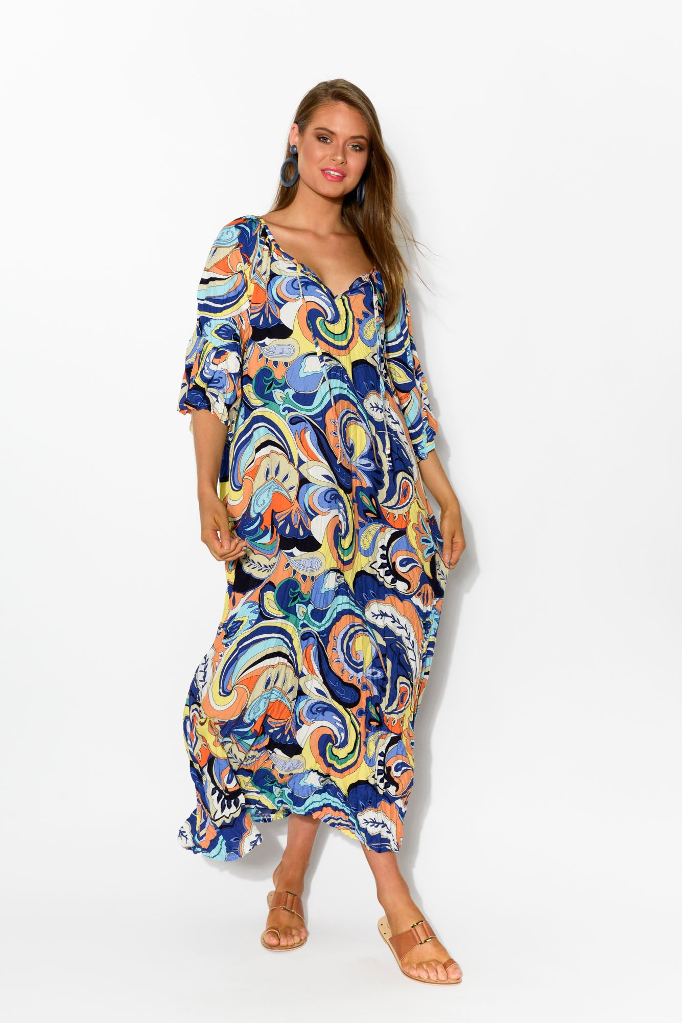 Dominique Carnival Crinkle Maxi Dress - Blue Bungalow