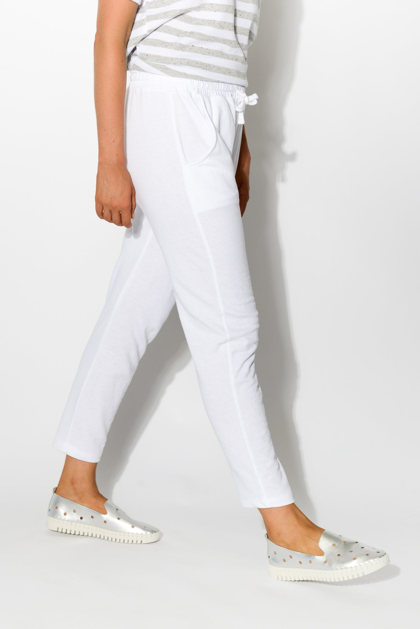 Saxon White Sweat Pant - Blue Bungalow