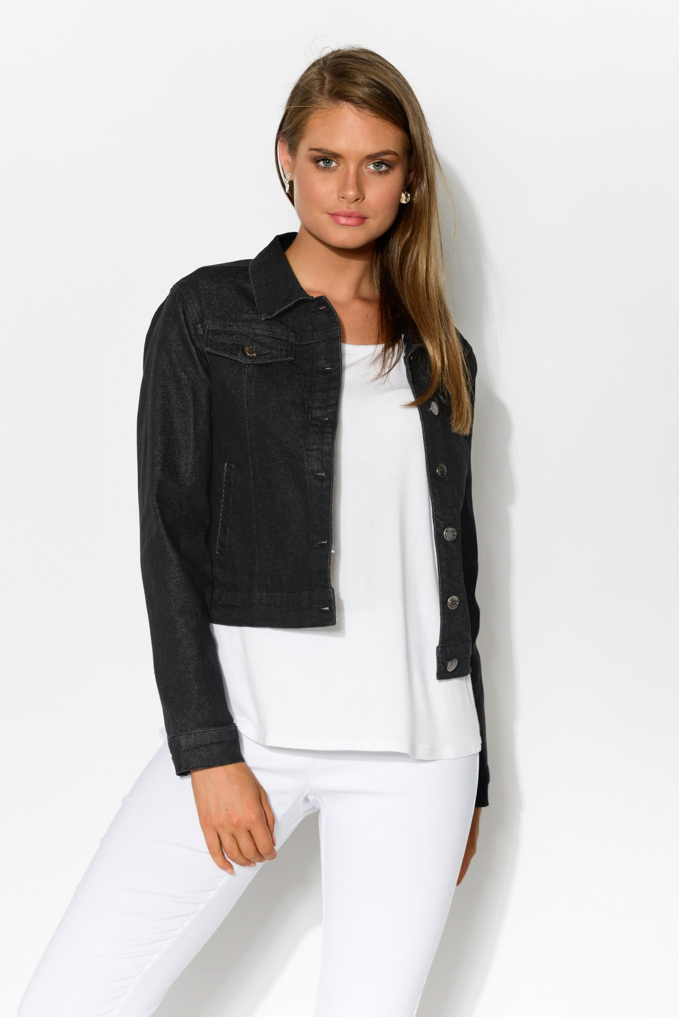 Pilot Black Denim Jacket - Blue Bungalow