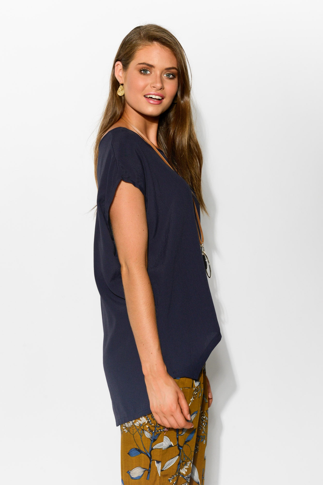 Navy Shell Top - Blue Bungalow