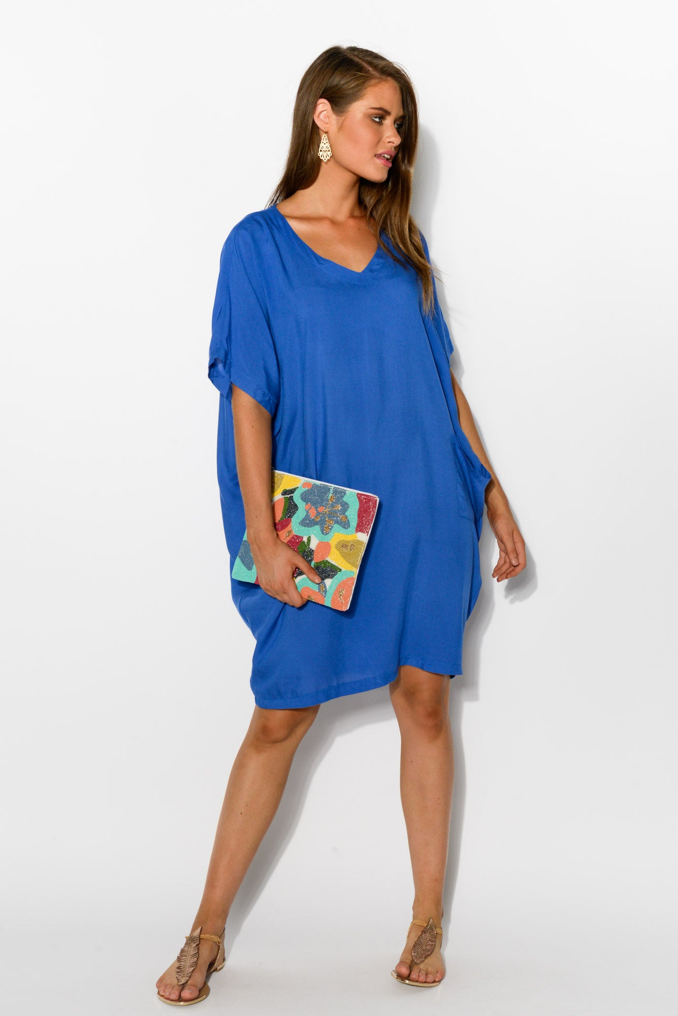 Cobalt Blue Iris Drape Tee Dress - Blue Bungalow