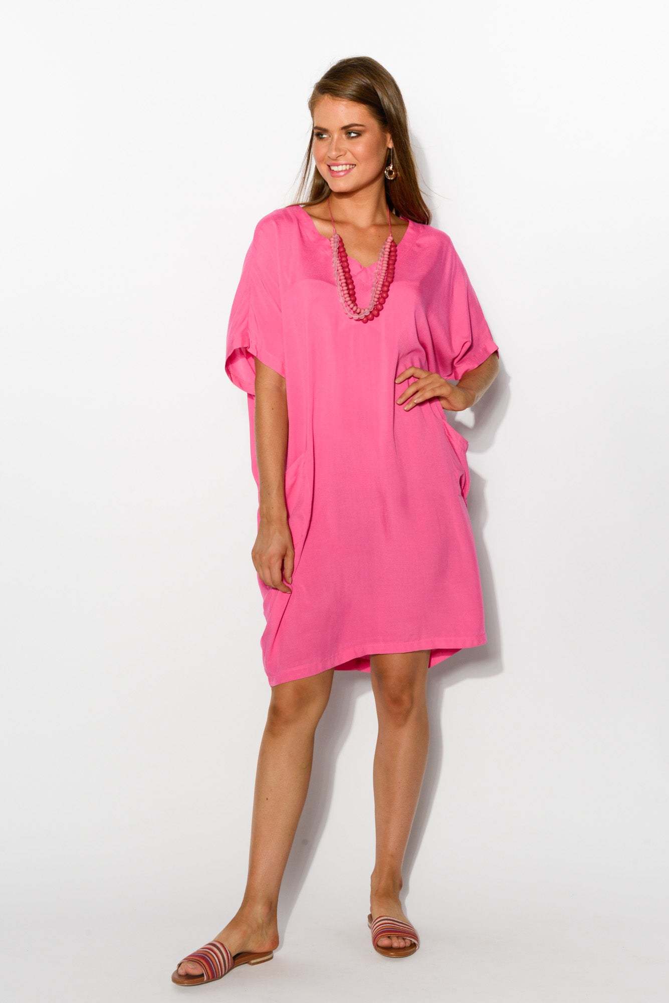 Pink Iris Drape Tee Dress - Blue Bungalow