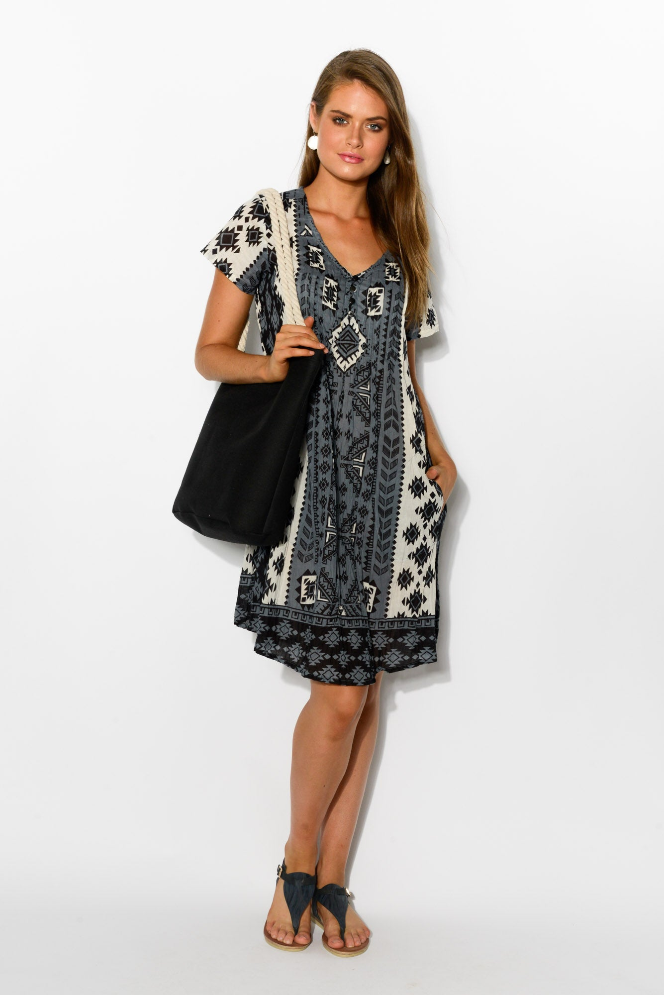 Tribal Grey Crinkle Cotton Dress - Blue Bungalow