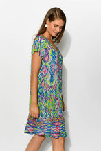 Green Diamond Crinkle Cotton Dress - Blue Bungalow