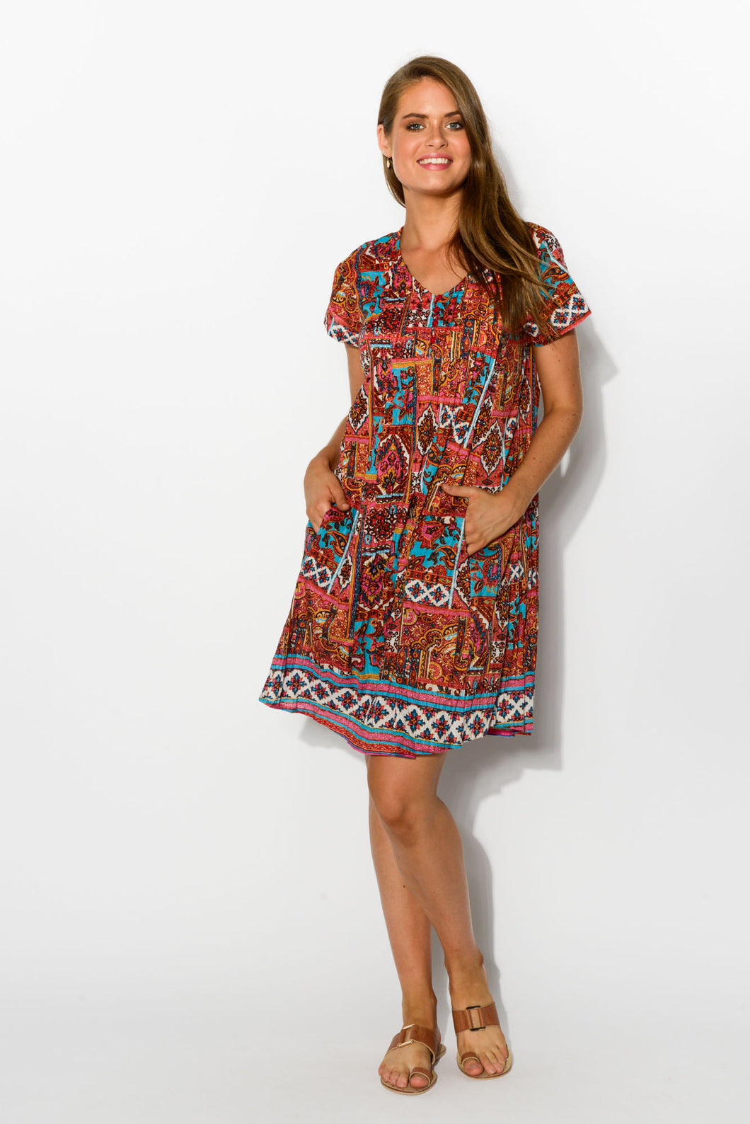 Turkish Red Crinkle Cotton Dress - Blue Bungalow