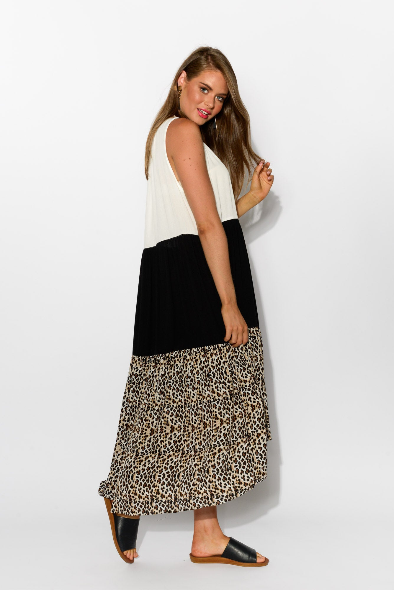 Leopard Tiered Midi Dress - Blue Bungalow