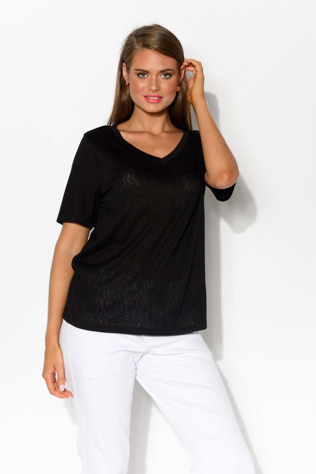 Messina Black V Neck Tee - Blue Bungalow