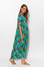 Mykonos Teal Pineapple Cold Shoulder Kaftan - Blue Bungalow
