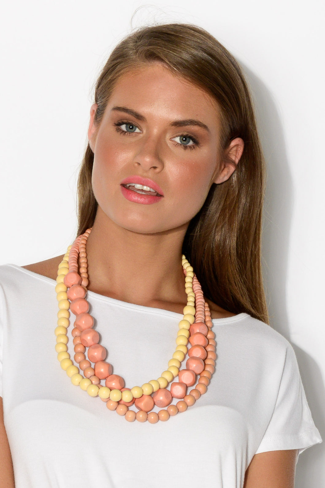 Citrus Tri Tone Beaded Necklace - Blue Bungalow