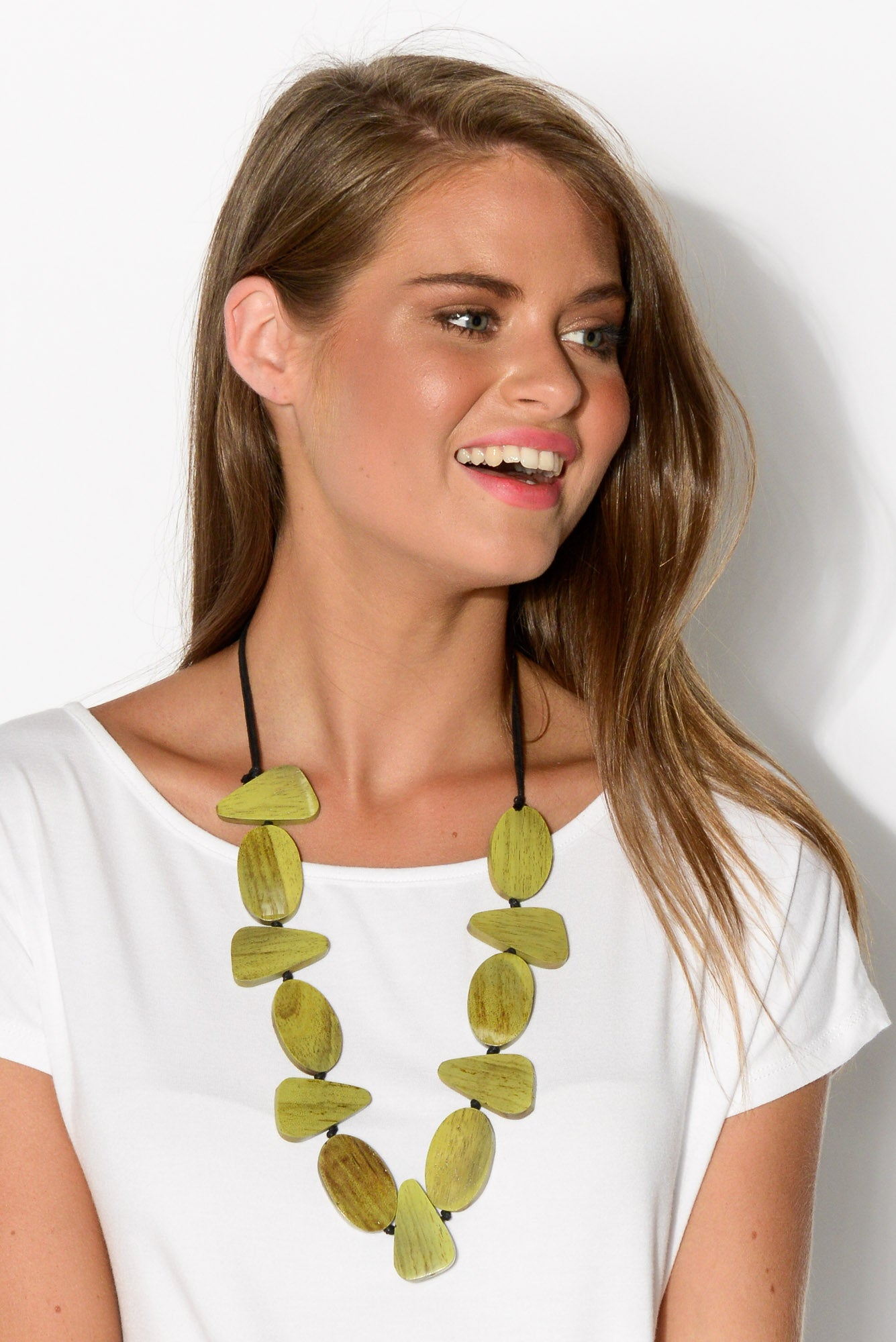 Lime Multi Shape Rosewood Necklace - Blue Bungalow