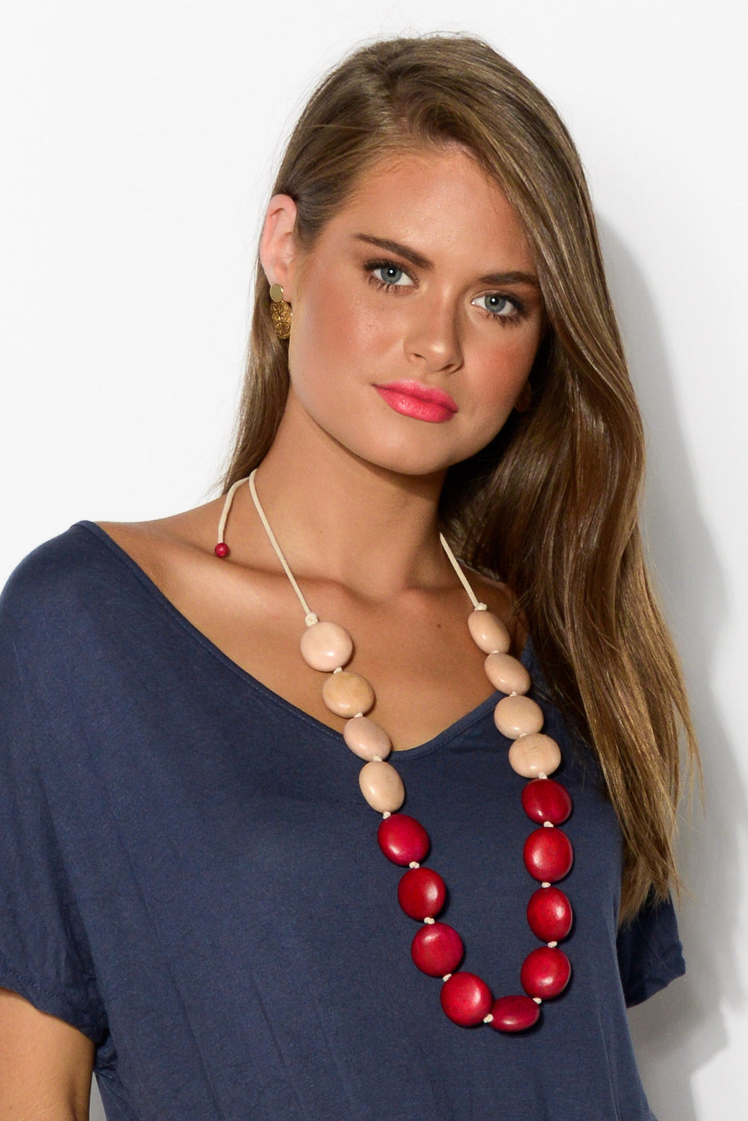 Red and Pink Knotted Timber Necklace - Blue Bungalow