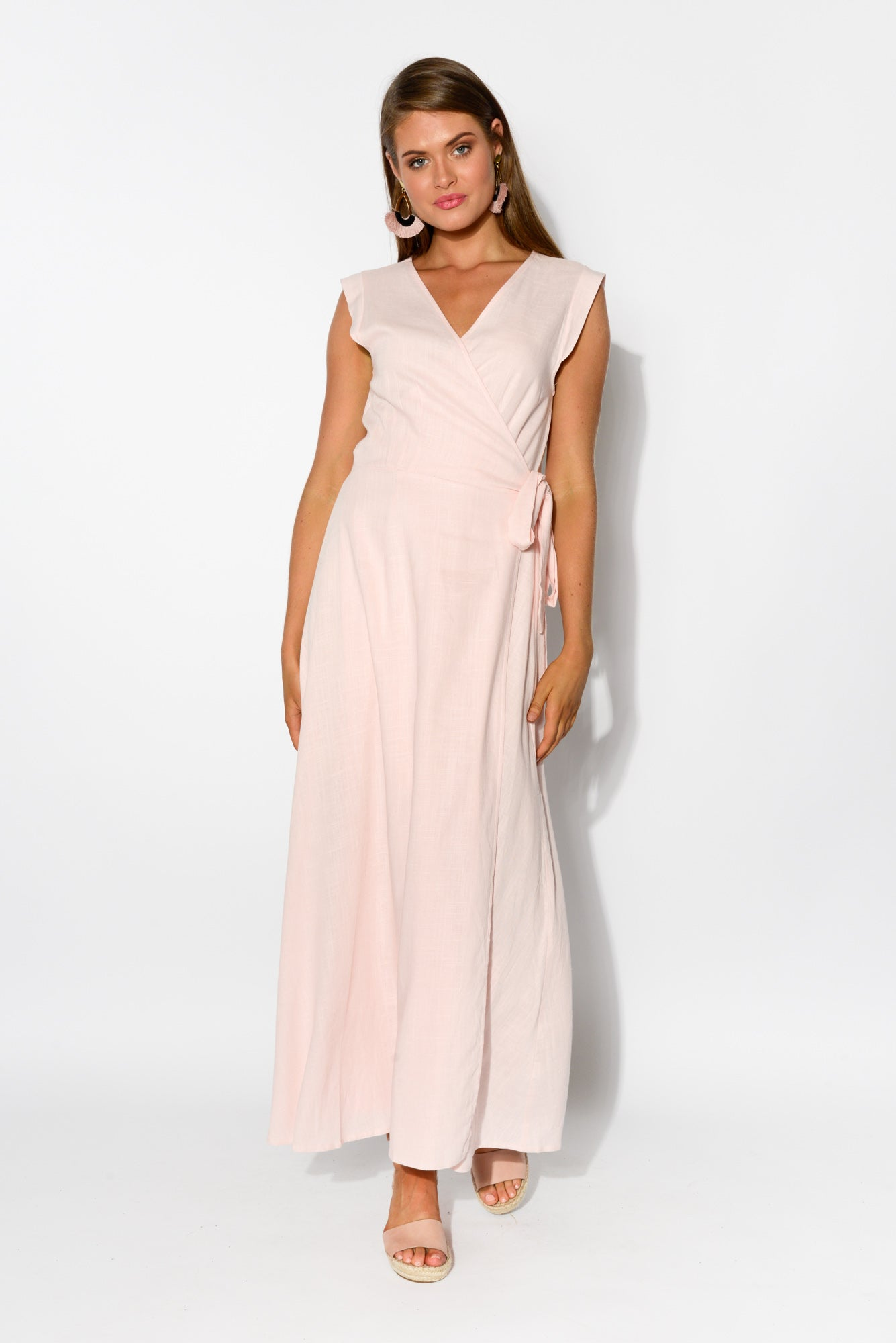 Poppy Pink Linen Cotton Wrap Dress