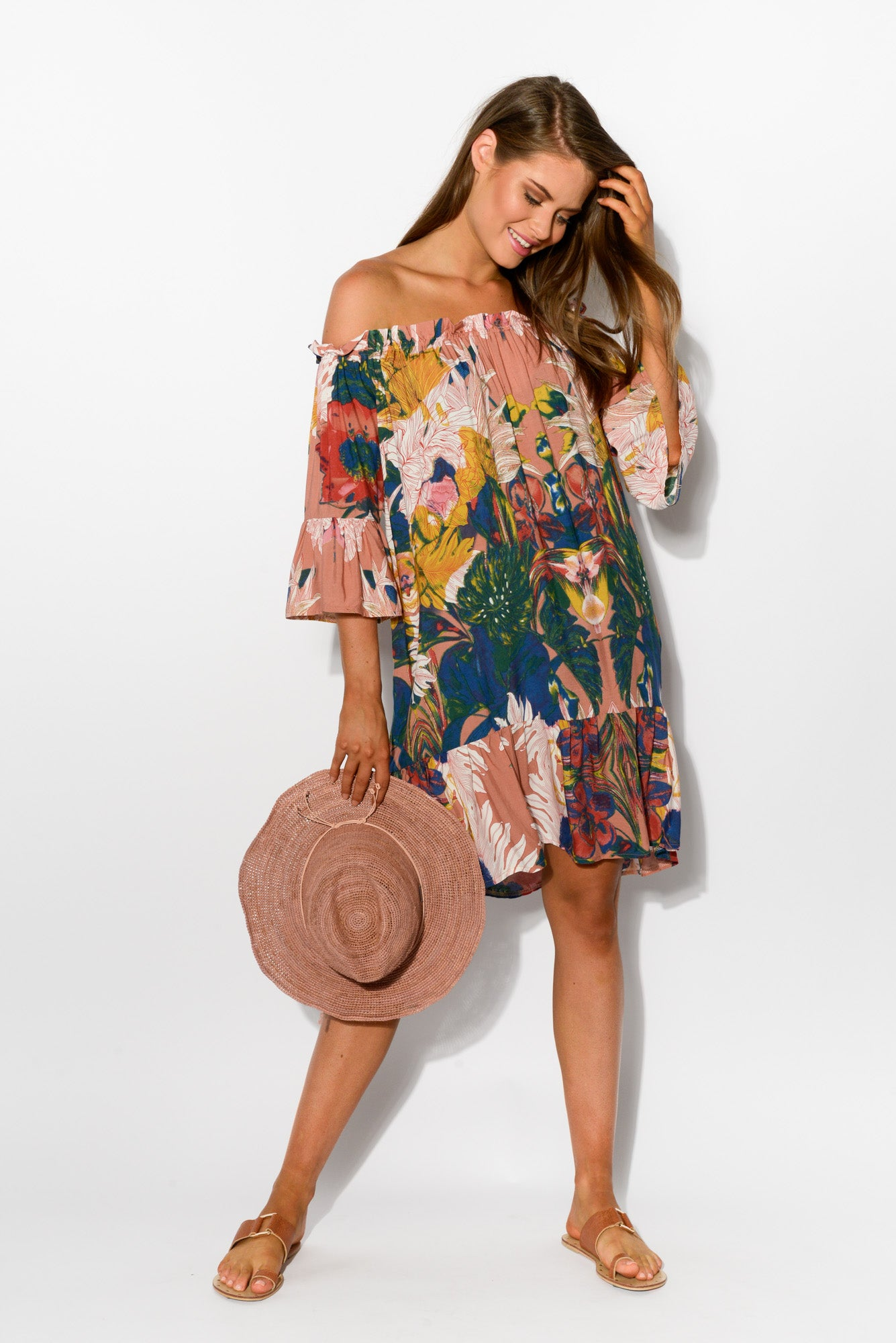 eaf9903fc7eb ... Munro Floral Off Shoulder Dress - Blue Bungalow ...