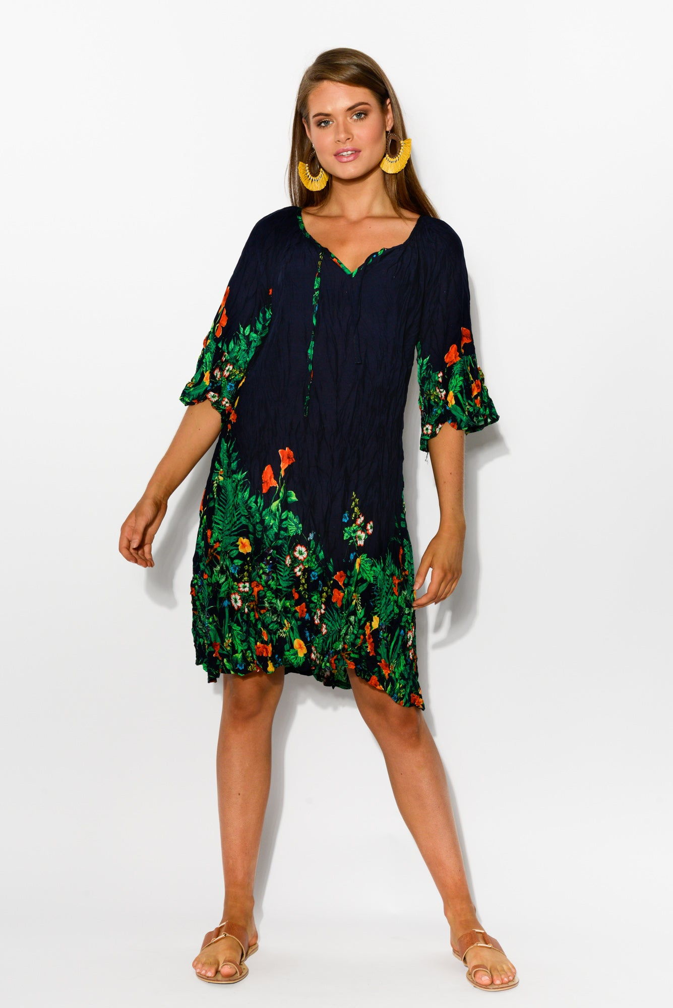 Navy Garden Bell Sleeve Dress