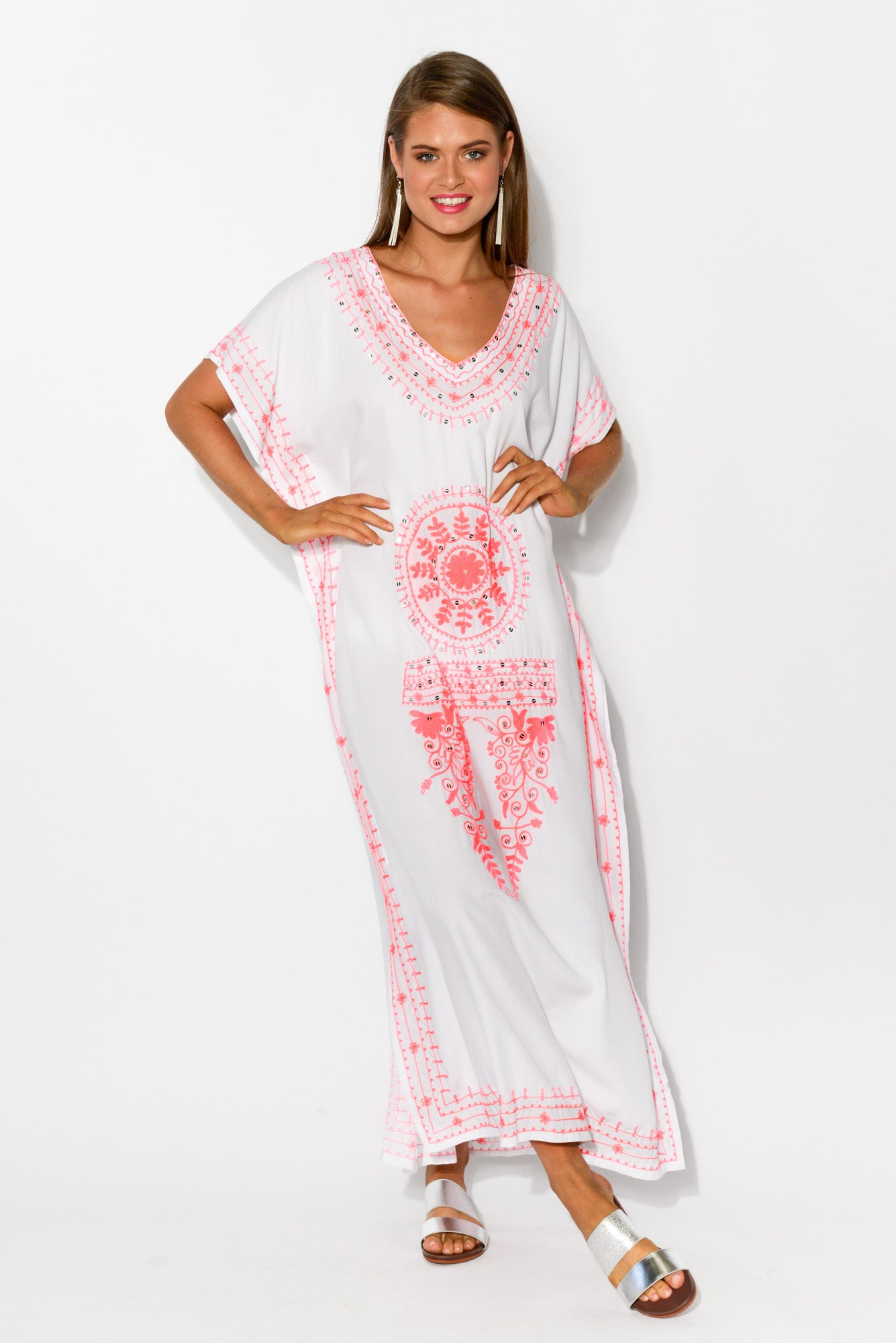 Clarissa White Embroidered Kaftan - Blue Bungalow