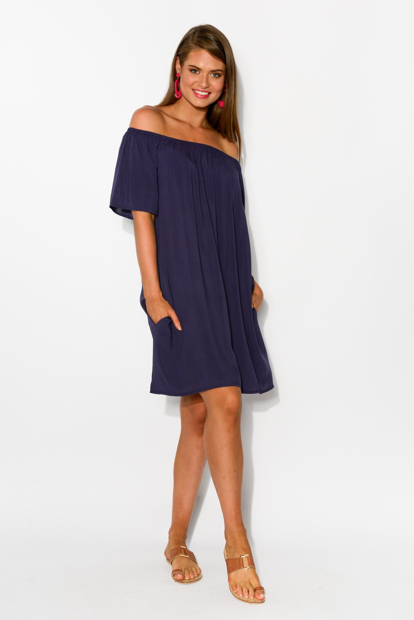Lauren Navy Off Shoulder Dress