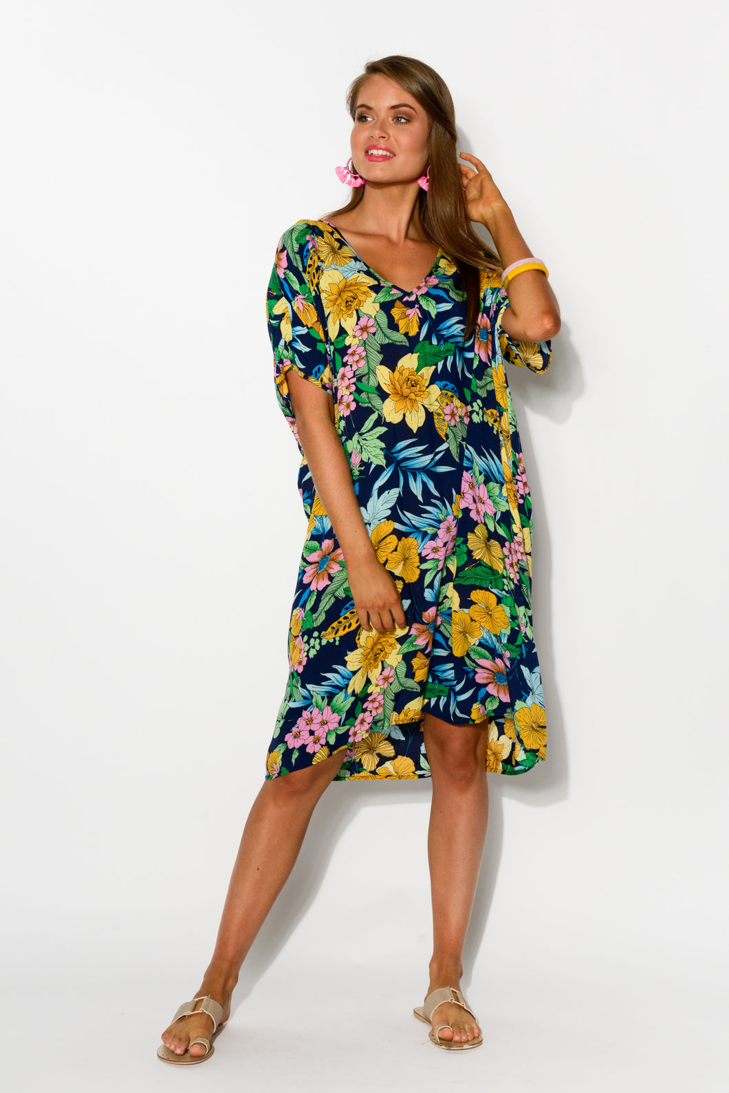 Beth Navy Floral Kaftan Dress