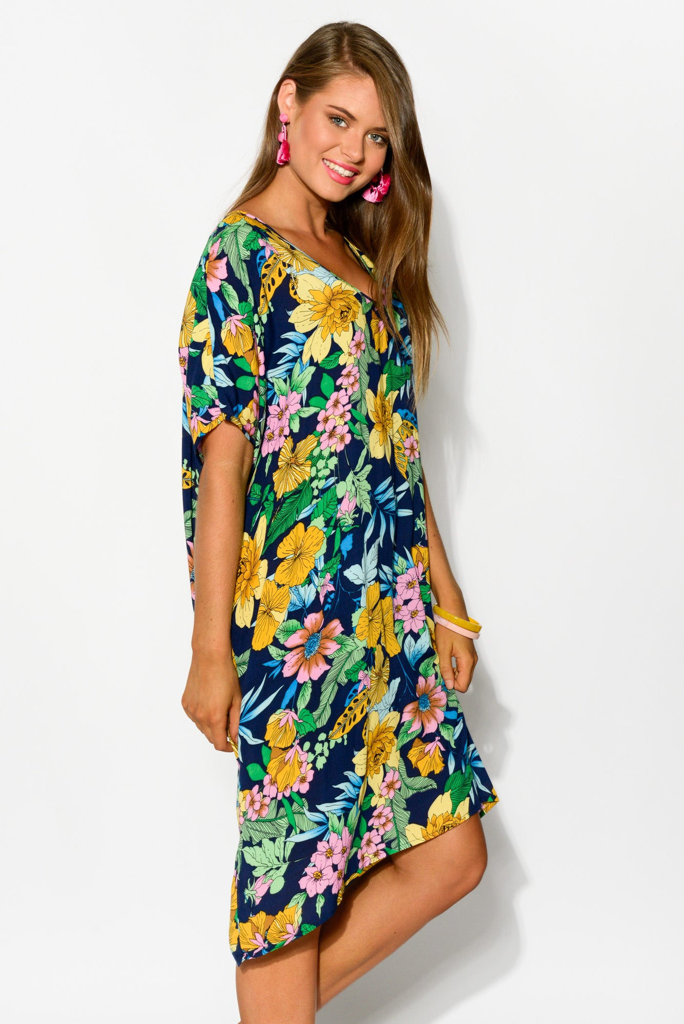 Beth Navy Floral Kaftan Dress - Blue Bungalow