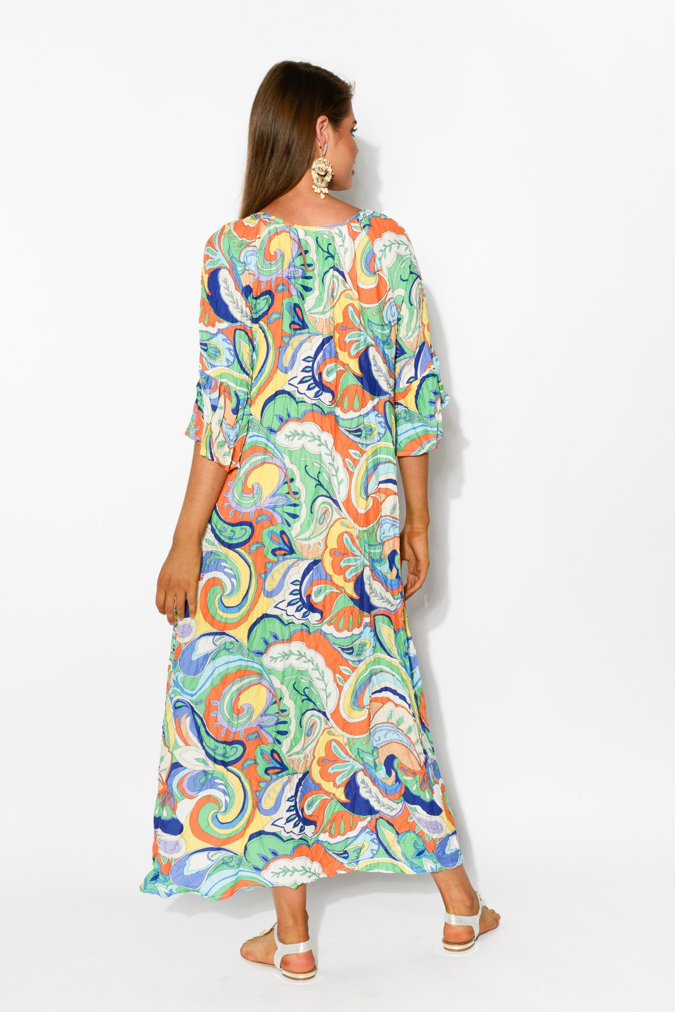Dominique Mosaic Crinkle Maxi Dress