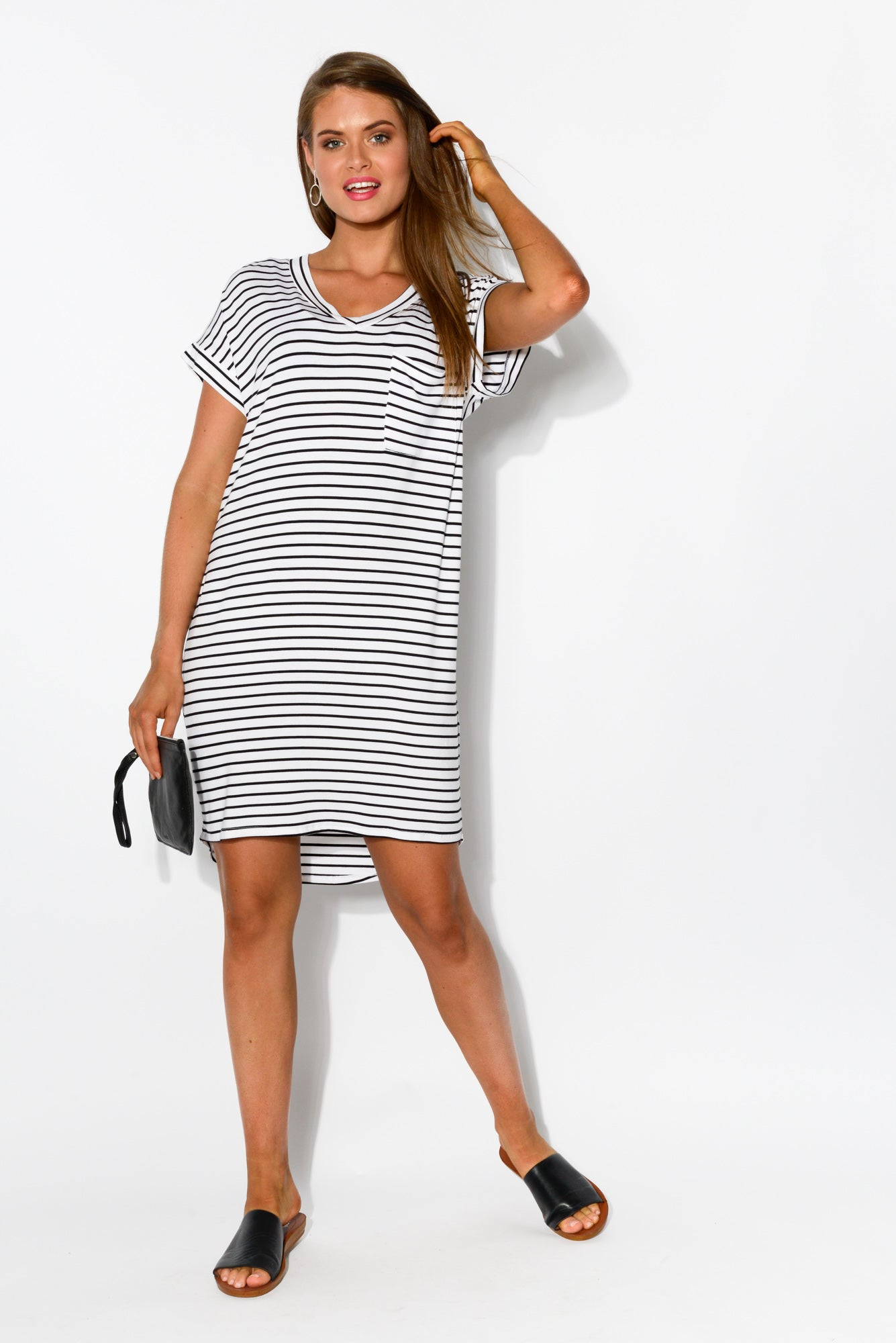 Arizona Black Stripe Tee Dress