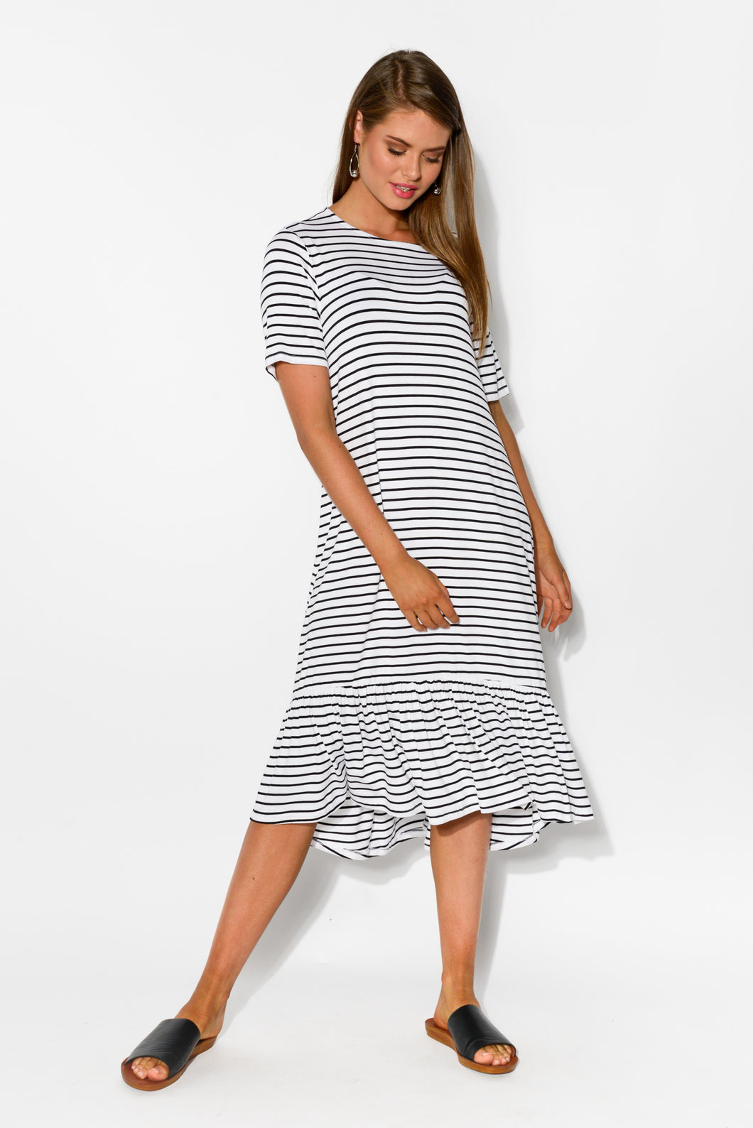 Stockholm Black Stripe Midi Dress