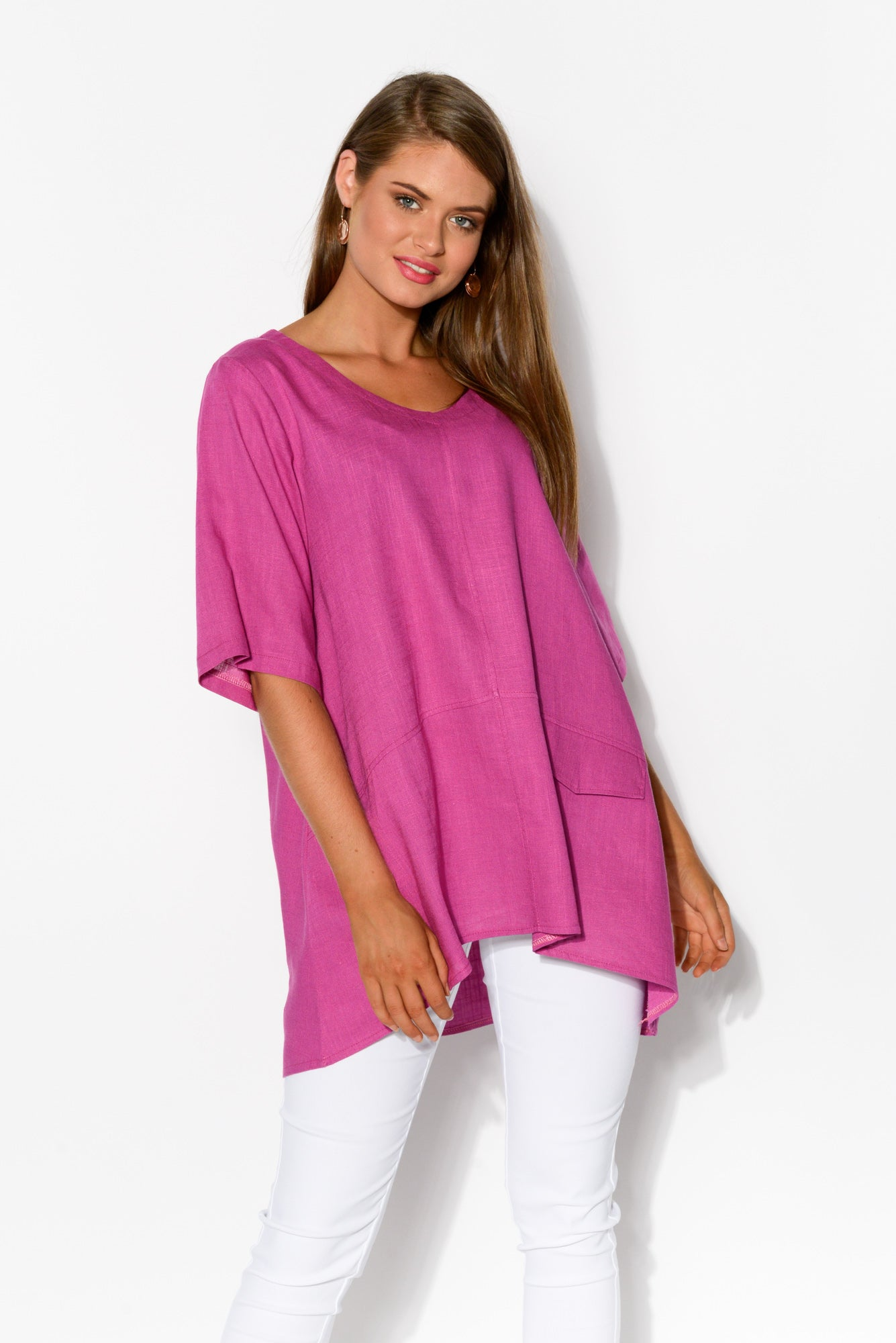 Neptune Purple Linen Cotton Top