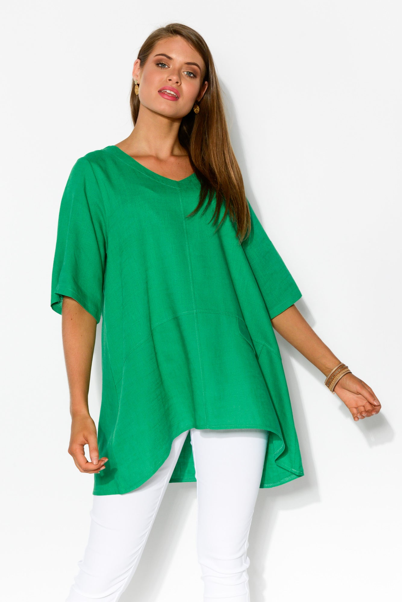 Neptune Green Linen Cotton Top - Blue Bungalow