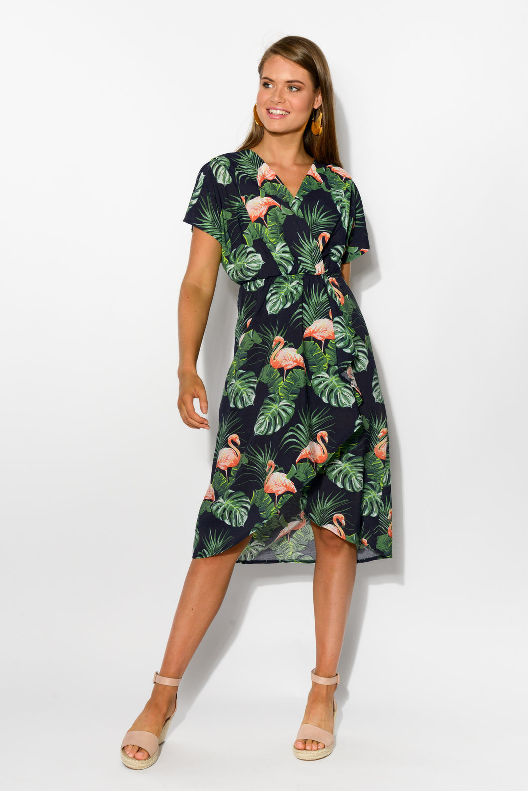 Navy Flamingo Wrap Dress - Blue Bungalow