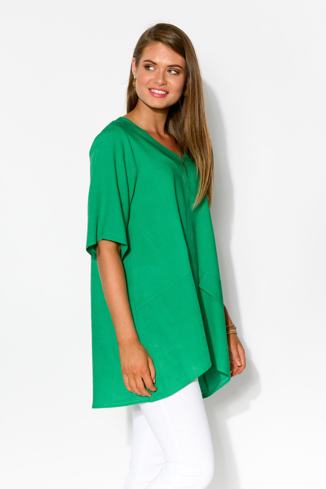 Neptune Green Linen Cotton Top