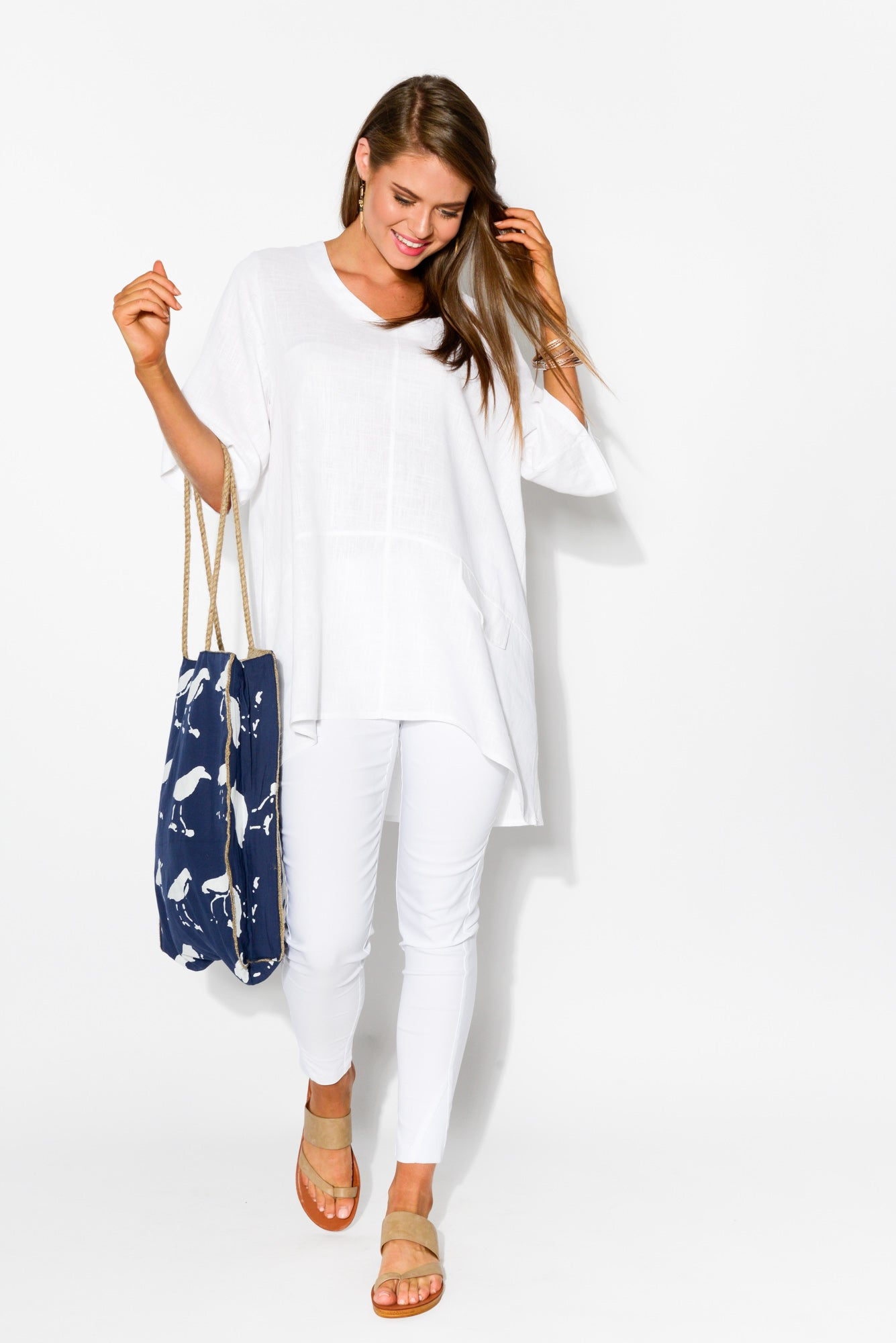 Neptune White Linen Cotton Top - Blue Bungalow