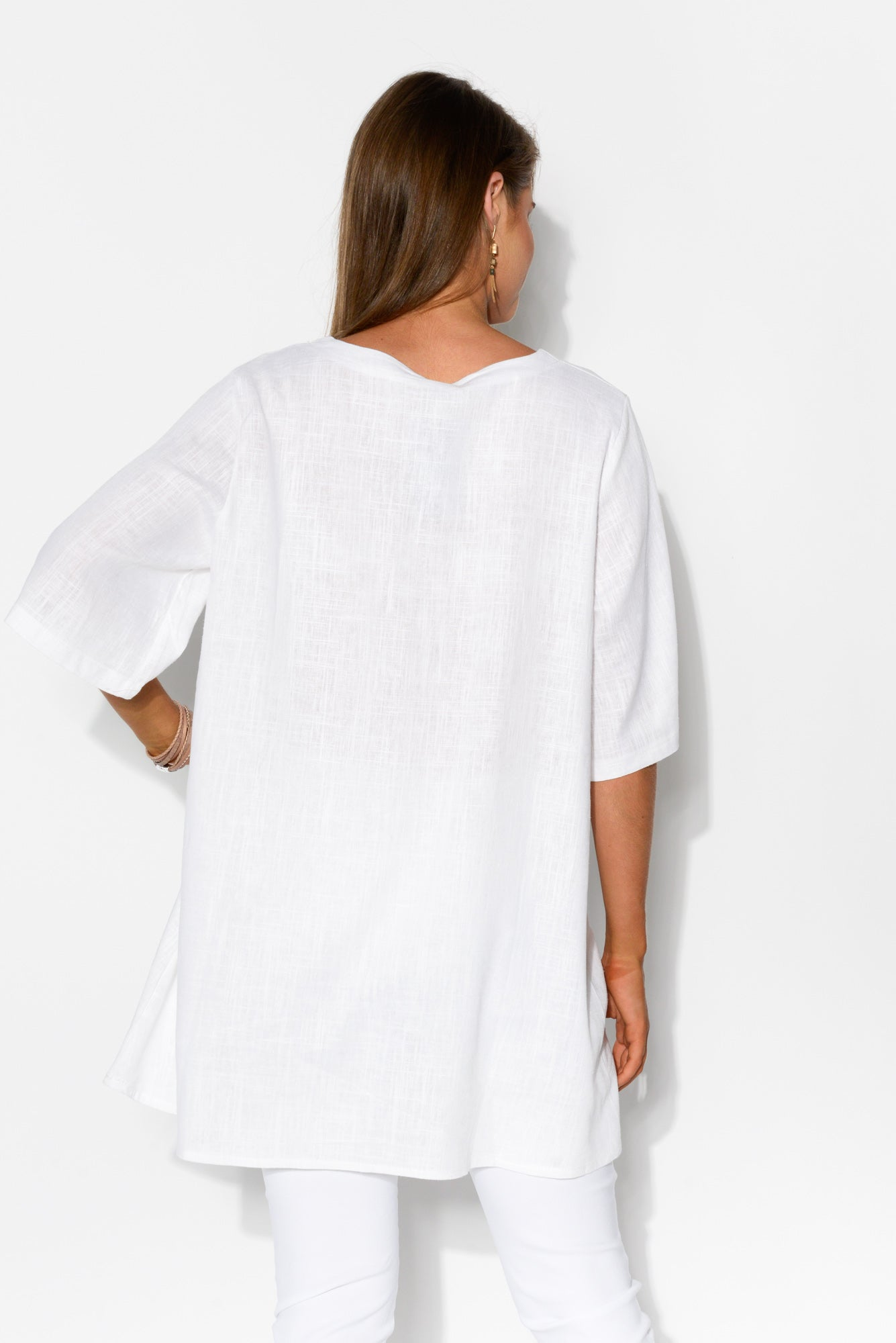 Neptune White Linen Cotton Top