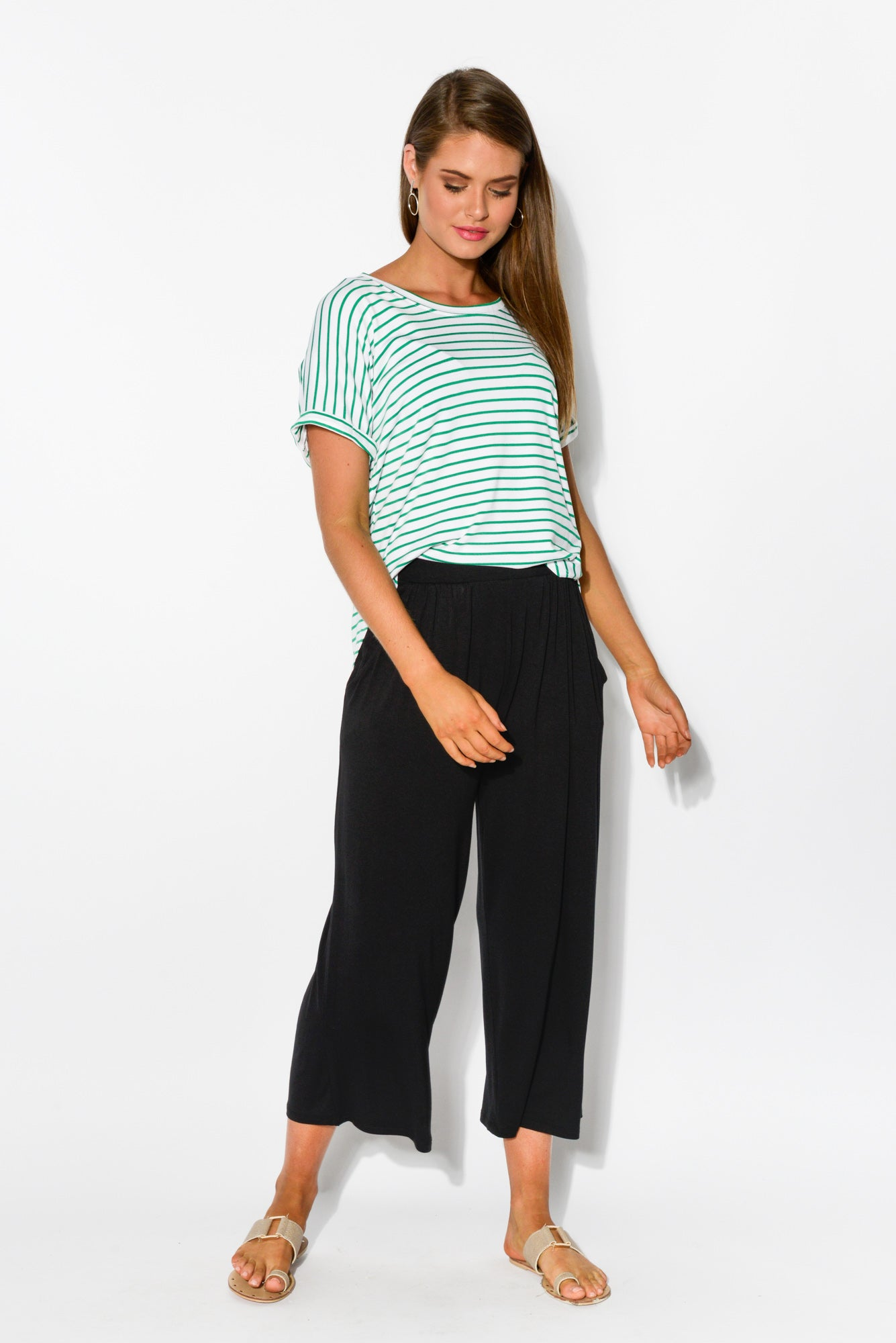 Green Stripe Adelaide Tee - Blue Bungalow