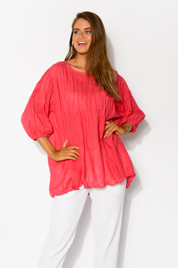 Berry Crinkle Cotton Tunic Top - Blue Bungalow