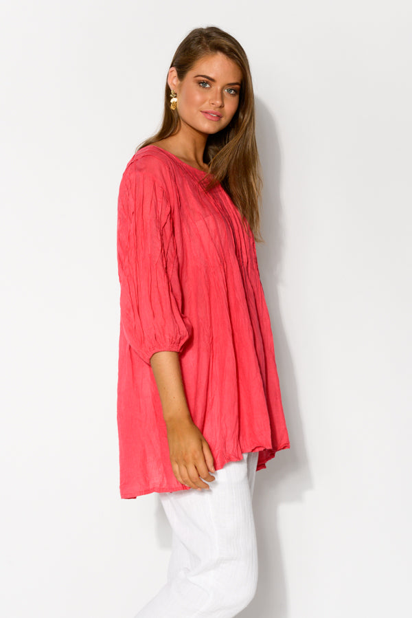Berry Crinkle Cotton Tunic Top