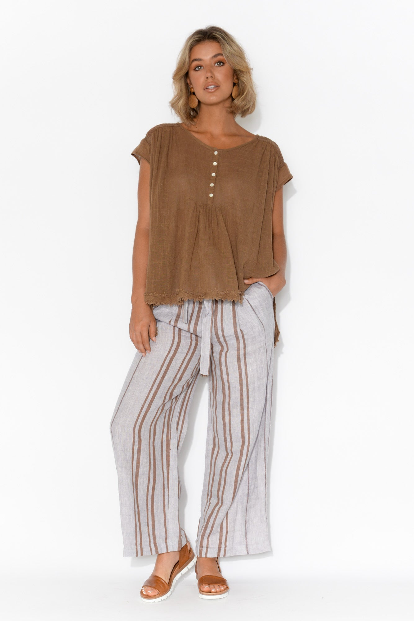 Abbey Brown Embroidered Cotton Top