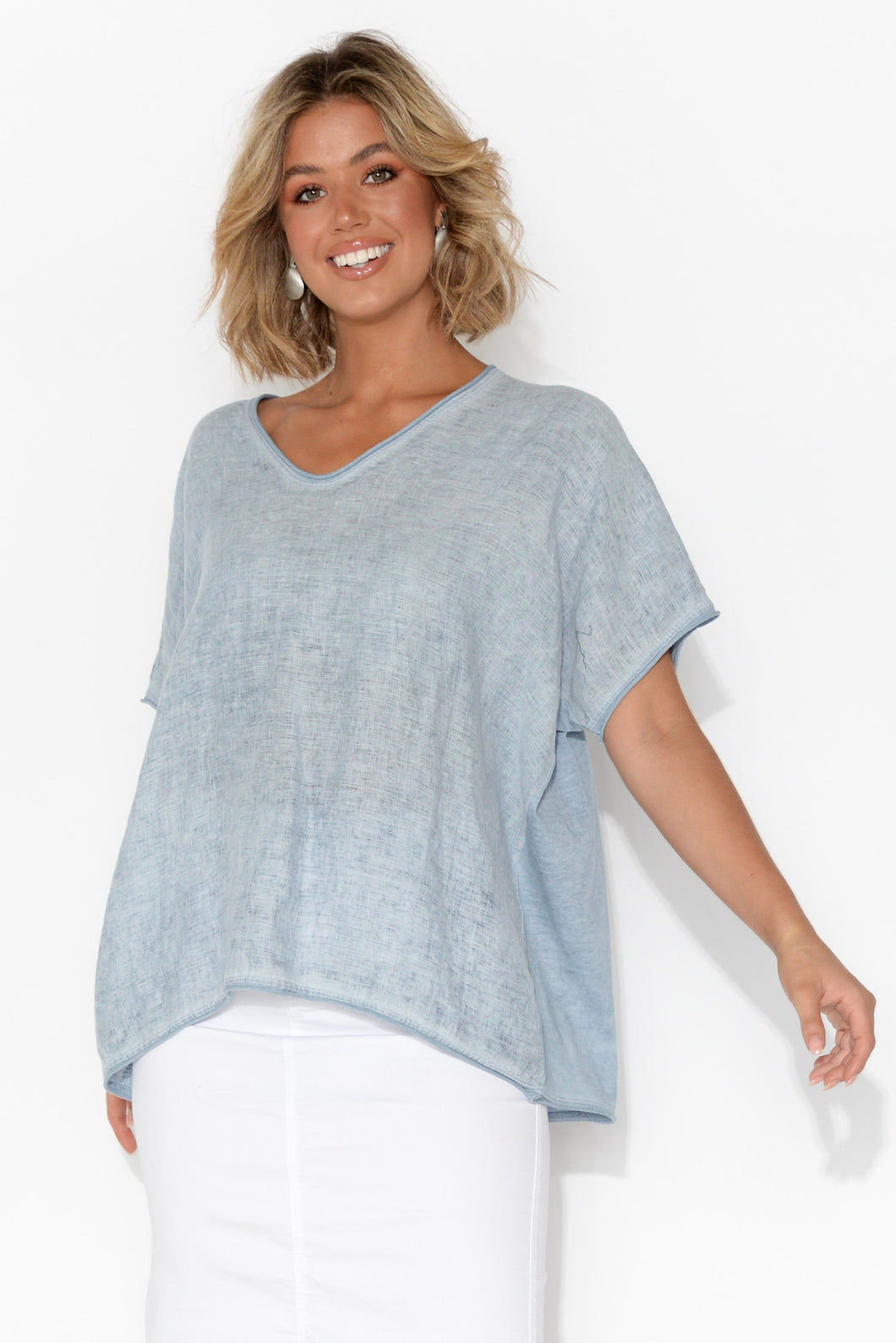 Abbi Light Blue Cotton Linen Top