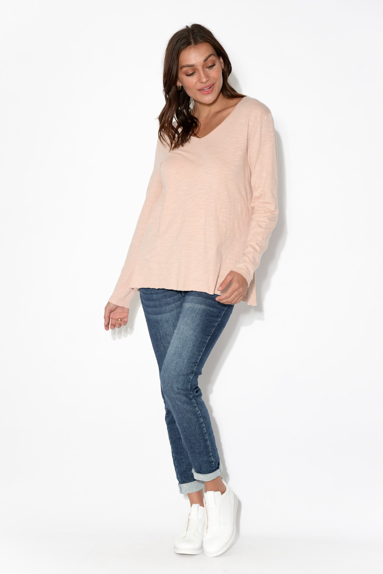 Abigale Blush Long Sleeve Cotton Top