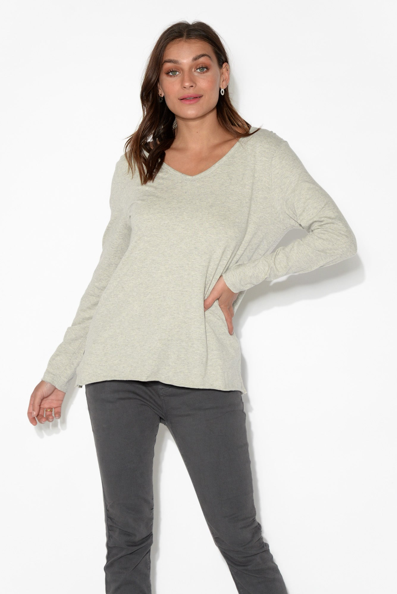 Abigale Grey Marle Long Sleeve Cotton Top