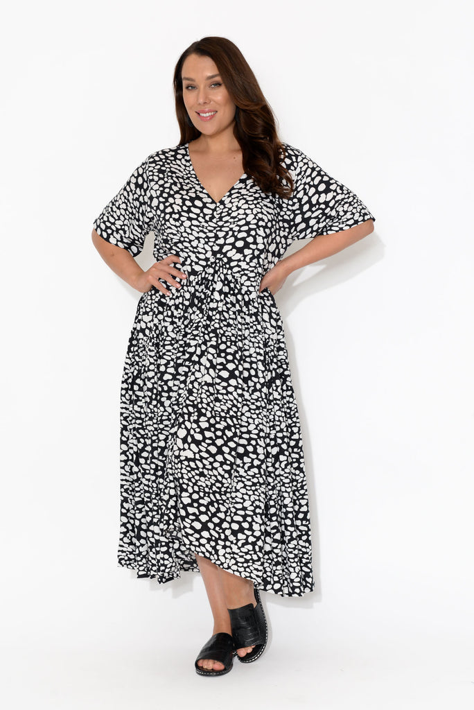 Ada Black Spot Gather Dress