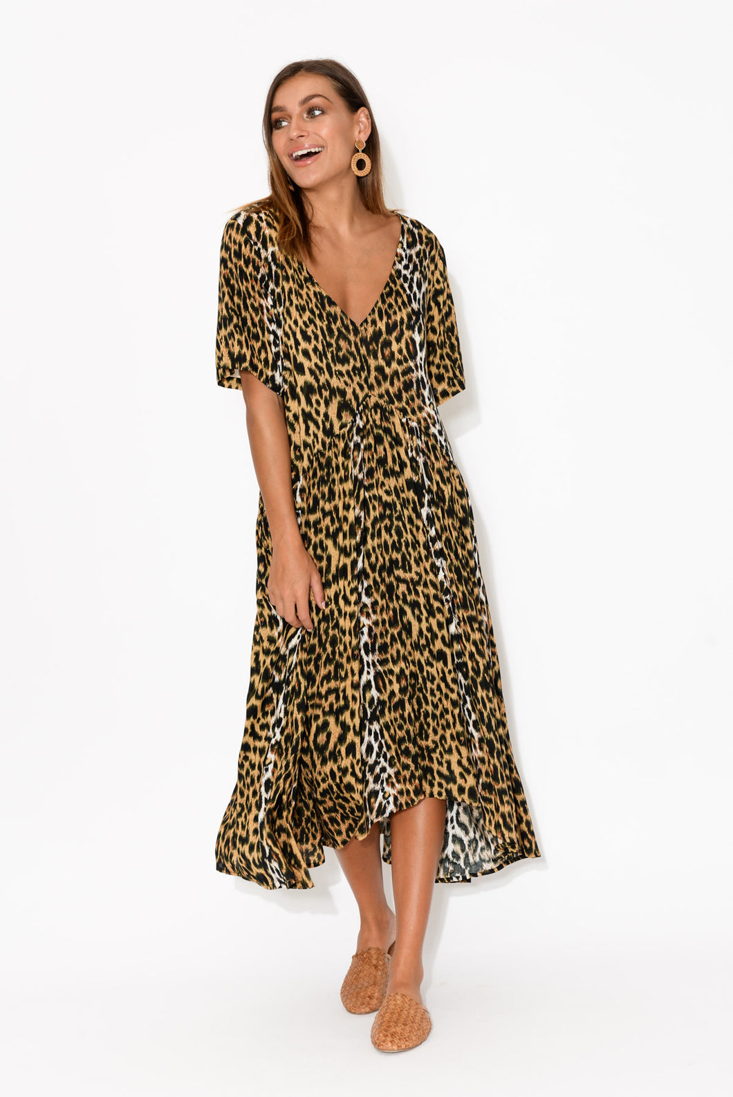 Ada Dark Leopard Gather Dress - Blue Bungalow