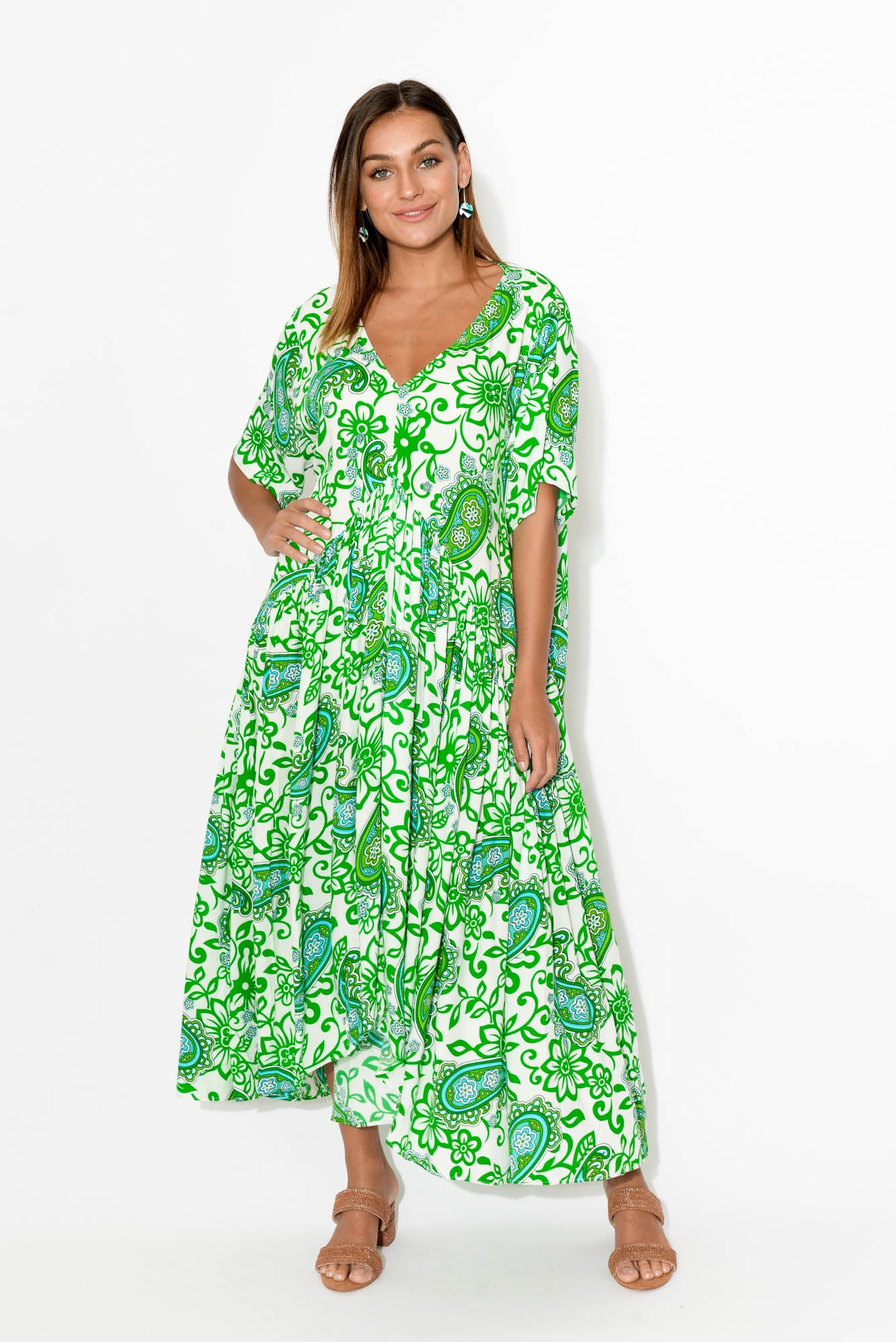 Ada Green Paisley Gather Dress