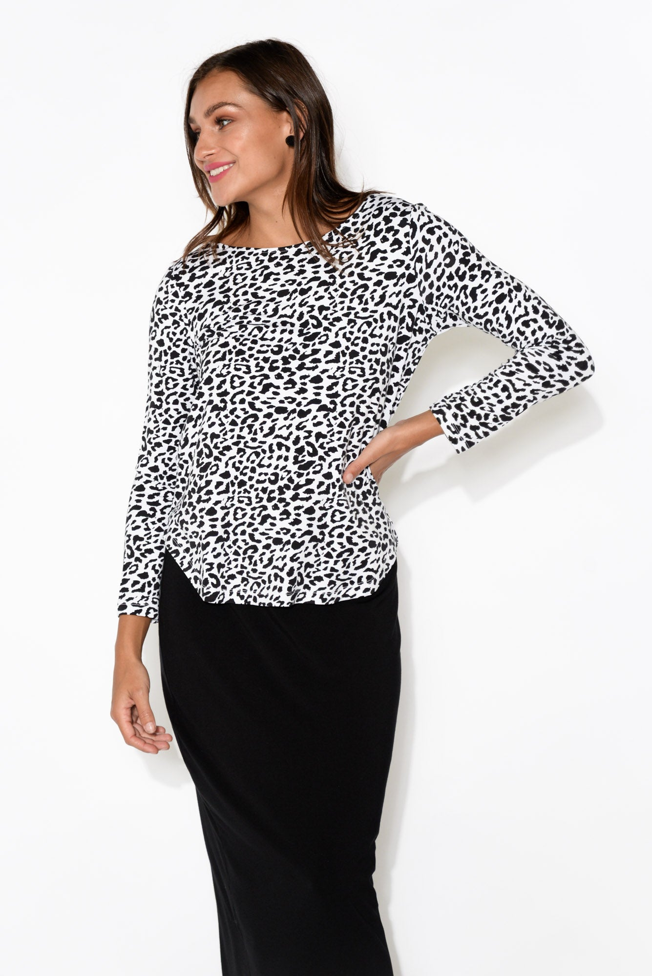 Adele Black Leopard Long Sleeve Bamboo Tee