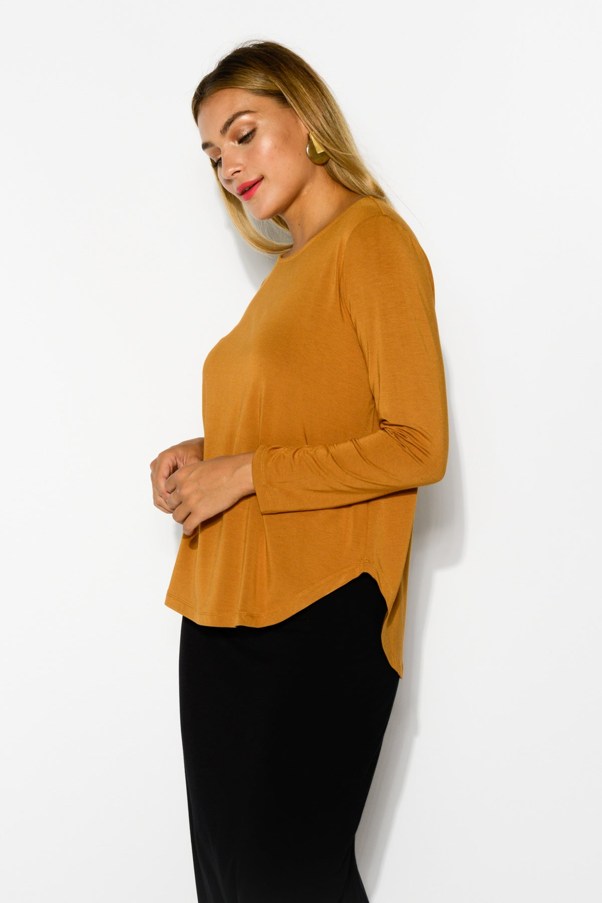 Adele Caramel Bamboo Long Sleeve Top - Blue Bungalow