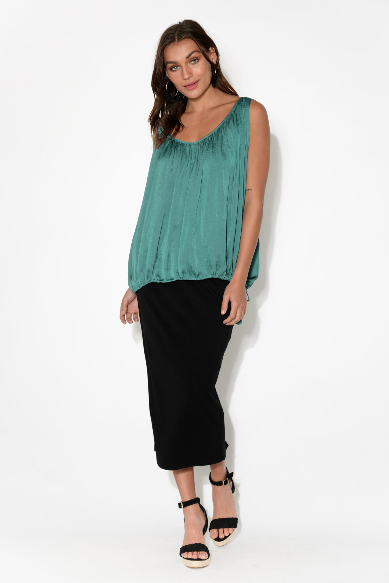 Adelia Teal Drawstring Top