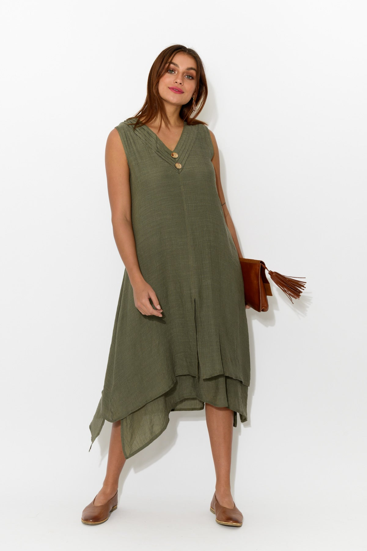 Adina Khaki Layered Dress - Blue Bungalow