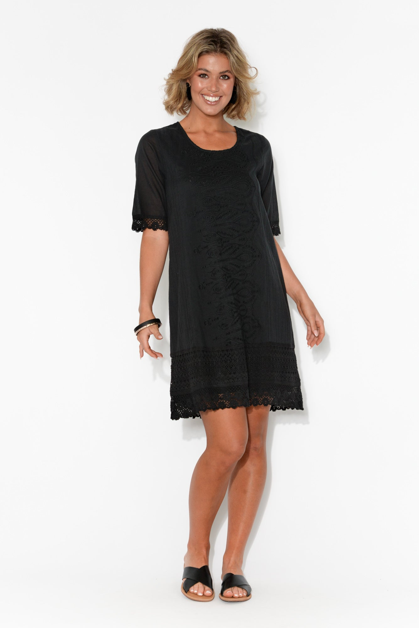 Adriana Black Broderie Organic Cotton Dress