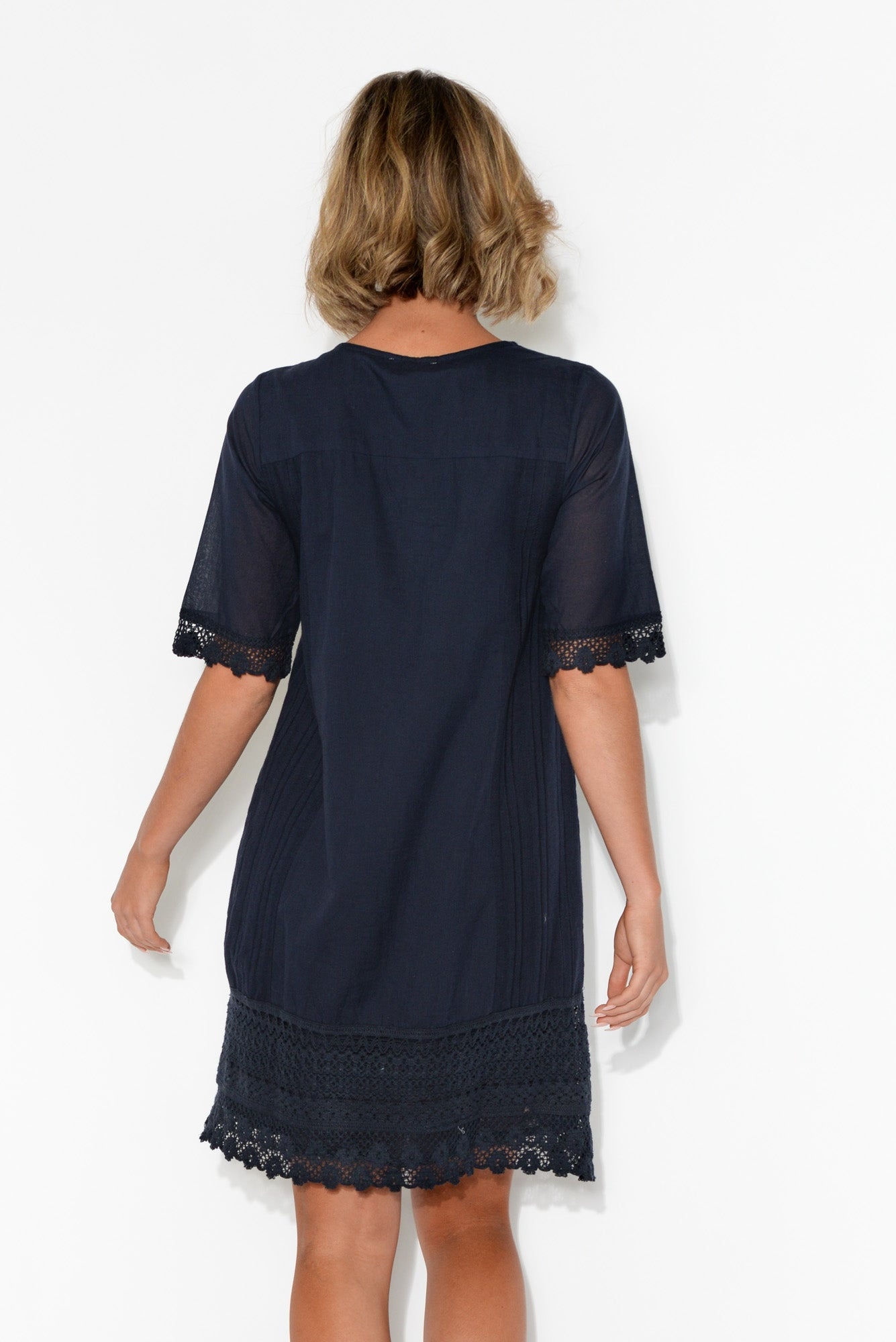 Adriana Navy Broderie Organic Cotton Dress