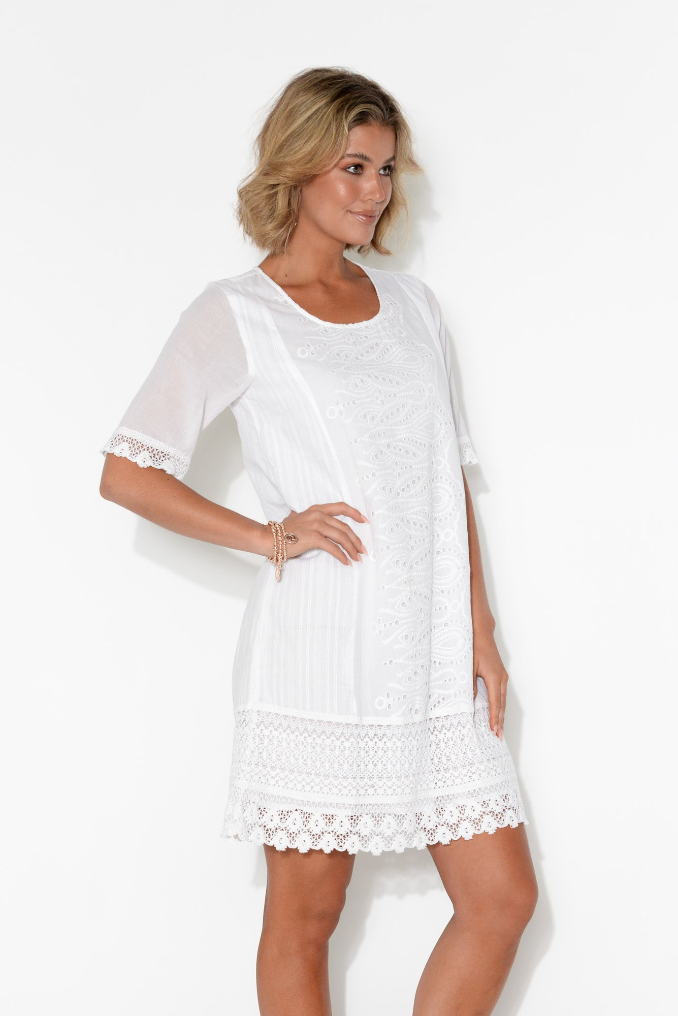 Adriana White Broderie Organic Cotton Dress