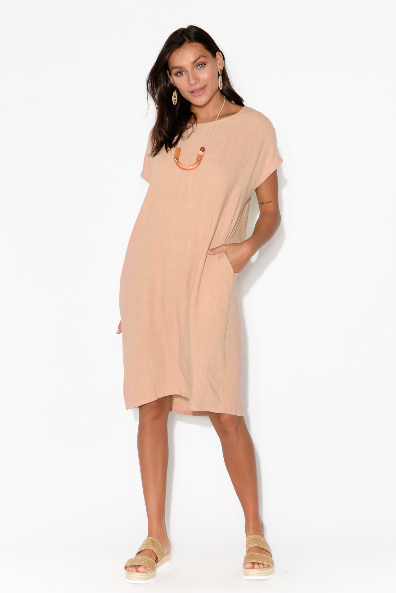 Aiden Blush Pocket Tee Dress